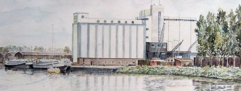 Waterverfschilderij van Dutch Cleaning Mill.